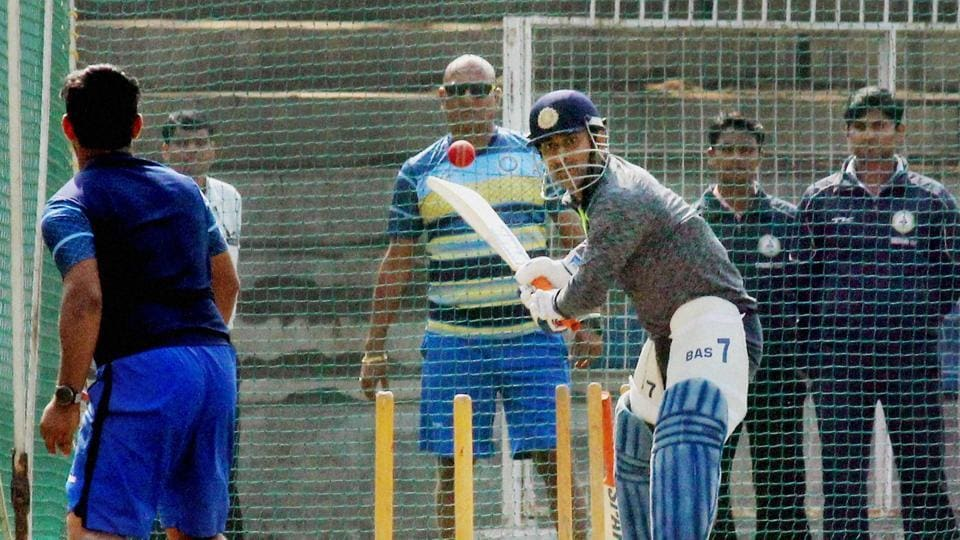 Apart from long batting sessions, Mahendra Singh Dhoni also gave some wicket-keeping tips to India Under-19 and Jharkhand 'keeper Ishan Kishan, sharing some drills as well. (PTI)