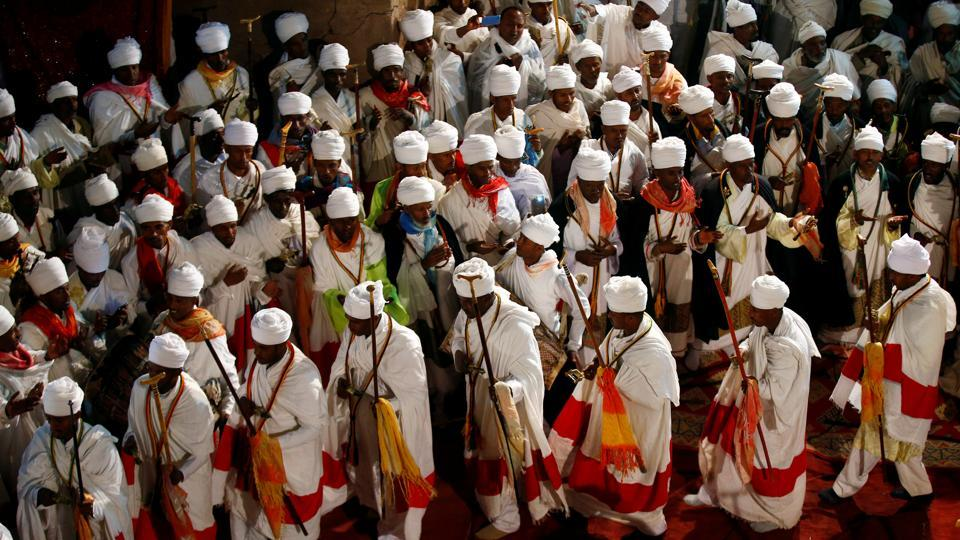 ethiopian orthodox choir members perform during the ethiopian christmas eve celebration tiksa negeri - When Is Ethiopian Christmas