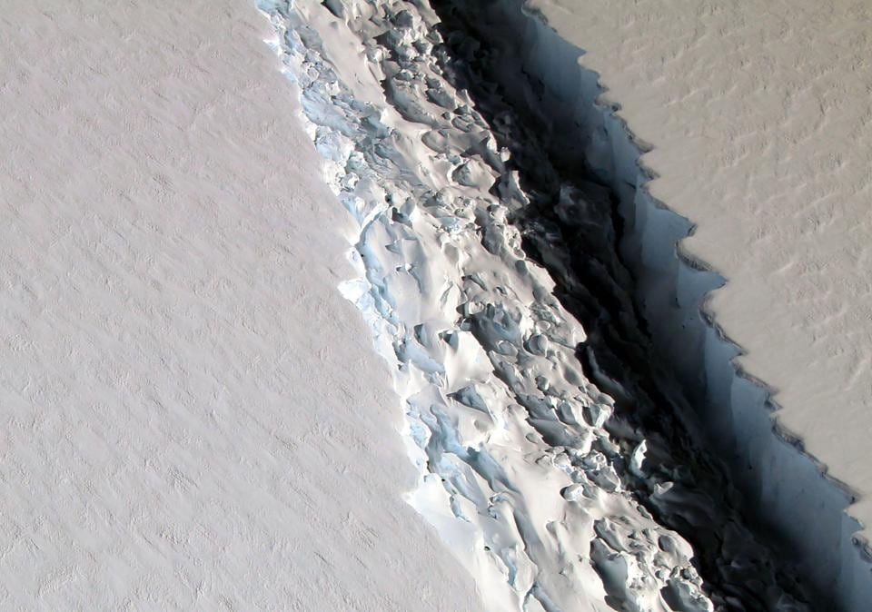 A view of a massive rift in the Antarctic Peninsula's Larsen C ice shelf as seen on November 10, 2016.