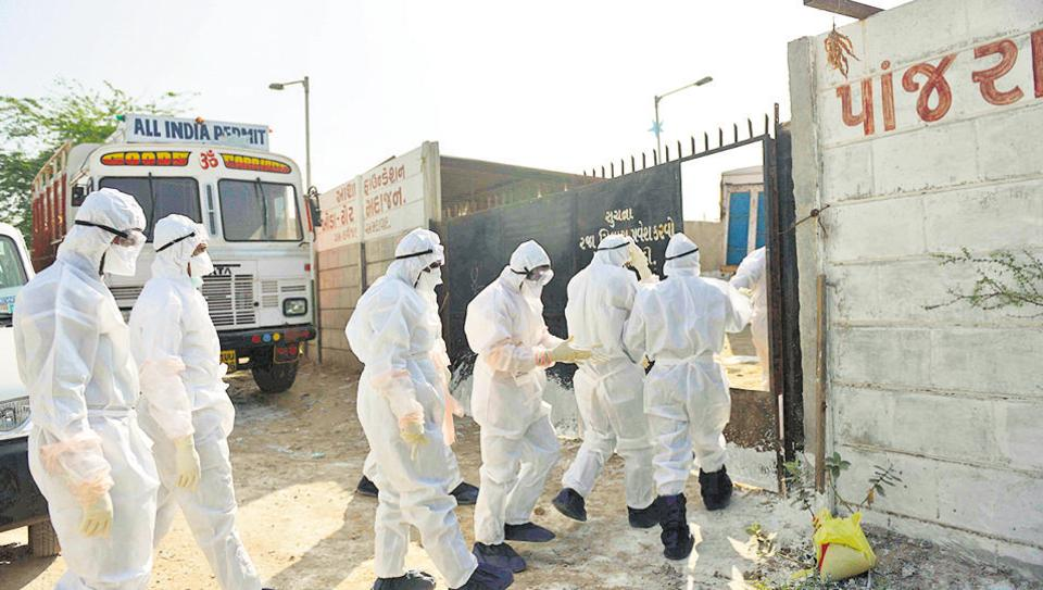 Health department officials from Gujarat state wear protective suits enter the Asha Foundation, an animal and bird rescue shelter, for a cleanliness drive at Hathijan village, some 20km from Ahmedabad.