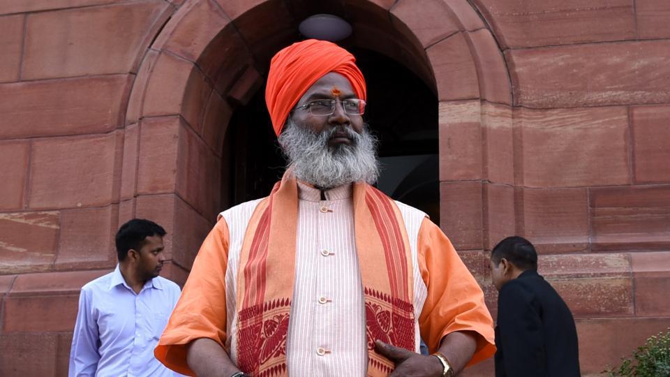 BJP Lok Sabha MP Sakshi Maharaj at Parliament house during the winter session.