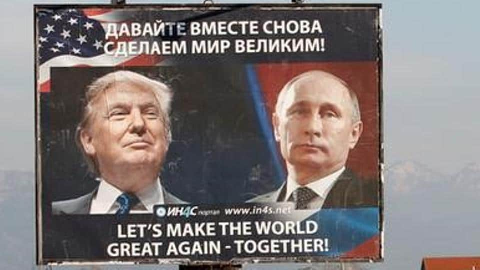 A billboard showing a pictures of US president-elect Donald Trump and Russian President Vladimir Putin in Danilovgrad, Montenegro. Trump has said that  there was absolutely no effect (of the Russian campaign) on the outcome of the USPresidential elections.