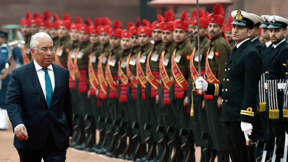 Portugal Prime Minister Antonio Costa inspects the guard of honor during his ceremonial reception at the forecourt of Rashtrapati Bhawan in New Delhi on Saturday.