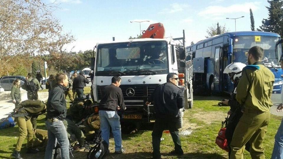 The Magen David Adom ambulance service said some 15 people were hurt and at least two were seriously injured.