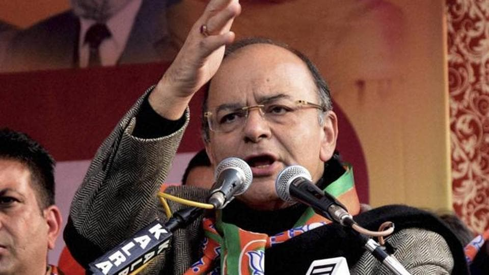 Finance minister Arun Jaitley speaking at a function organised on the culmination of BJP's Sankalp Yatra in Amritsar on Sunday.