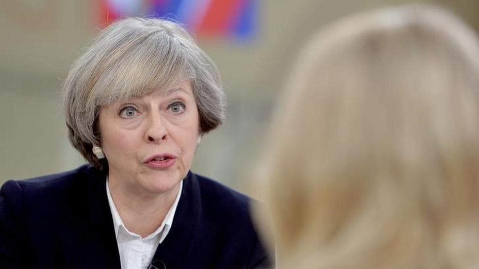 Britain's Prime Minister Theresa May (L) is interviewed by Sophy Ridge on Sky News, during the Ridge on Sunday programme, in London, Britain January 8,