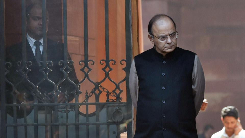 Finance minister Arun Jaitley after a cabinet meeting at South Block in New Delhi.
