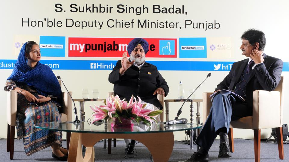 Union minister Harsimrat Kaur Badal, Punjab deputy chief minister Sukhbir Singh Badal in conversation with Hindustan Times senior resident editor RameshVinayak in Chandigarh.