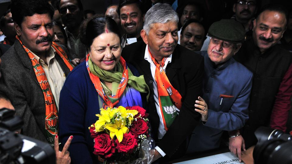 BJP leader Asha Jaswal along with other leaders of the party filing nomination paper to joint commissioner Manoj Khatri for mayor's seat at the municipal corporation office in Sector 17, Chandigarh, on Saturday.