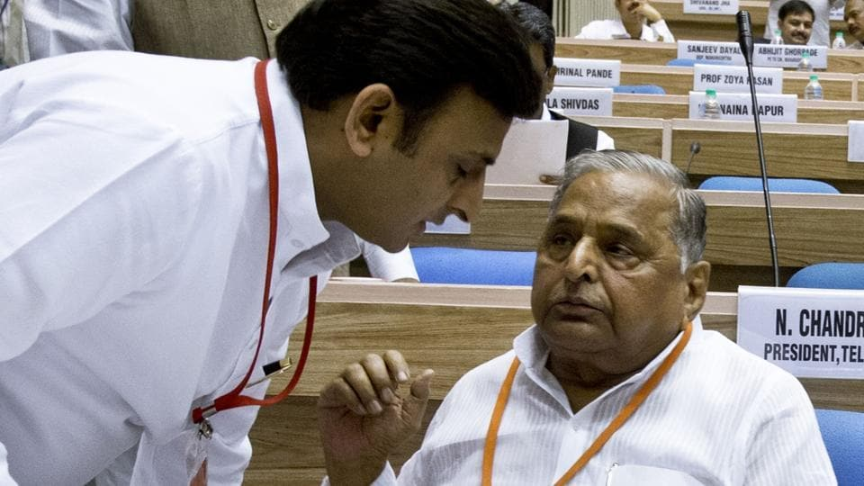 File photograph of Uttar Pradesh chief minister Akhilesh Yadav and his father and president of Samajwadi Party Mulayam Singh Yadav.
