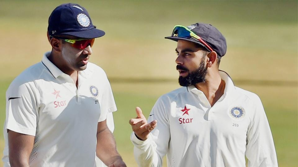 Ravichandran Ashwin topped the bowlers' list in the ICC's latest Test ranking for bowlers while Virat Kohli was a notch behind Steve Smith in the batsmen's list.