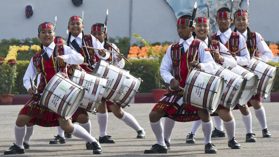 The school band of the Mizo High School in Aizwal performs during the inauguration of the NCC Republic Day Camp by vice-president Hamid Ansari at Delhi Cantt Parade Ground on January 6.  (Vipin Kumar/HT PHOTO)