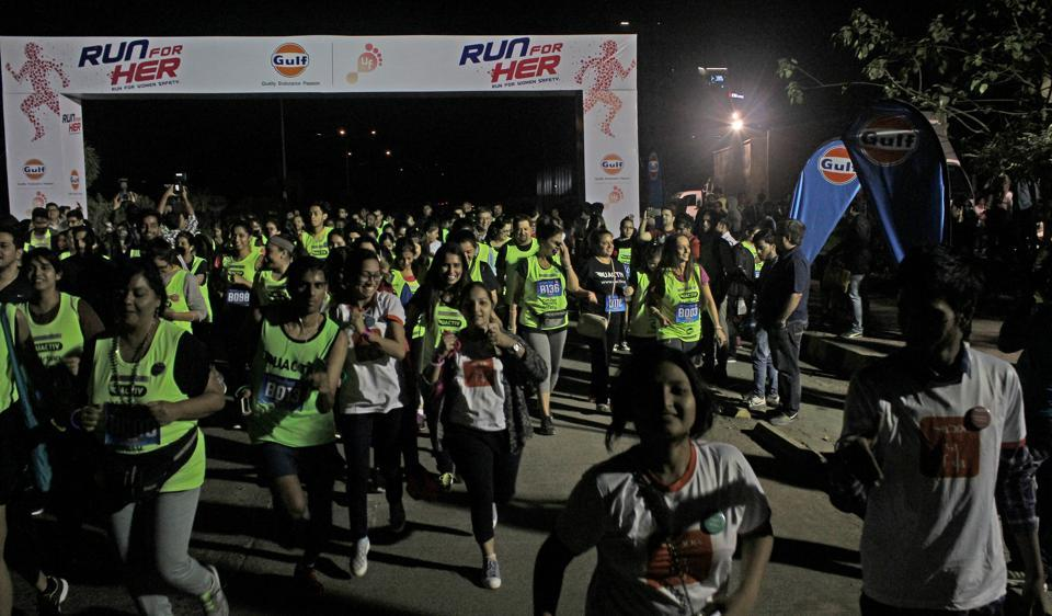 Hundreds participated in the 7km night run at BKC on Saturday.