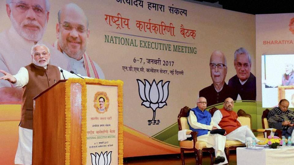PM Narendra Modi addresses party workers on the second day of the BJP's national executive meeting in Delhi.