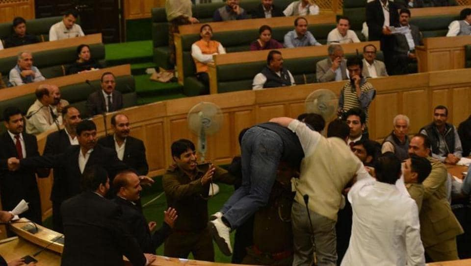 Members of National Conference and BJP legislators clashed in the Jammu and Kashmir Assembly during the Opposition's protest to demand a time-bound judicial probe into civilian killings during the 2016 Kashmir unrest.