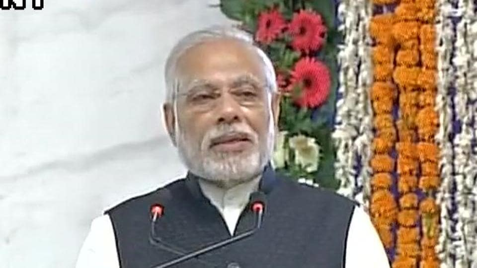 PM Narendra Modi speaking at 'bhoomi poojan' of redevelopment of Gandhinagar railway station complex