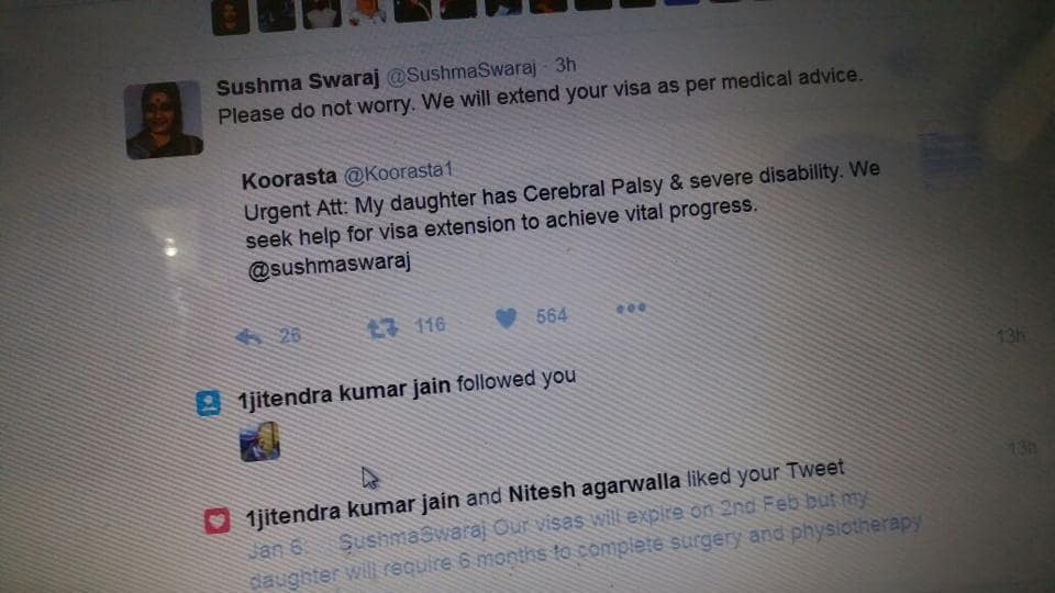 The tweet by foreign minister Sushma Swaraj