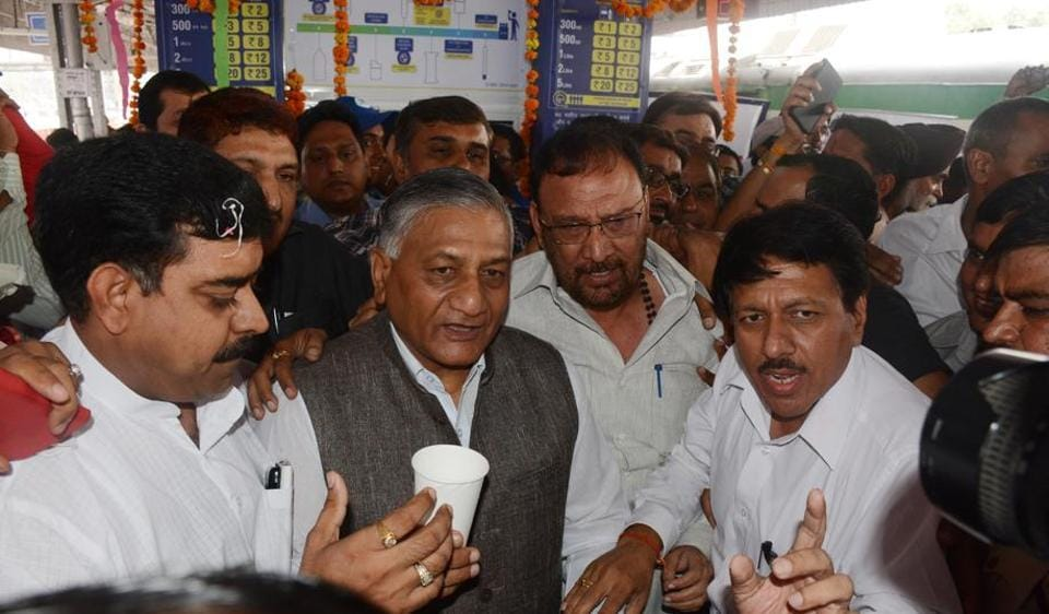 Fixed water ATMs set up in Khoda Colony have been of a major help for residents to procure clean drinking water. Ghaziabad MP Gen (retd) VK Singh (centre) had inaugurated the project.