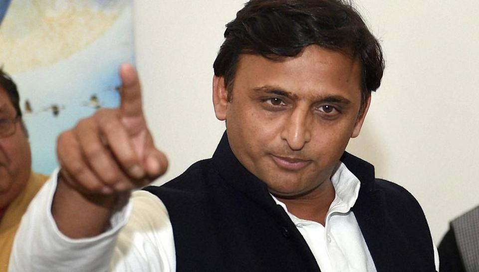 Uttar Pradesh chief minister Akhilesh Yadav at a programme at his residence in Lucknow .