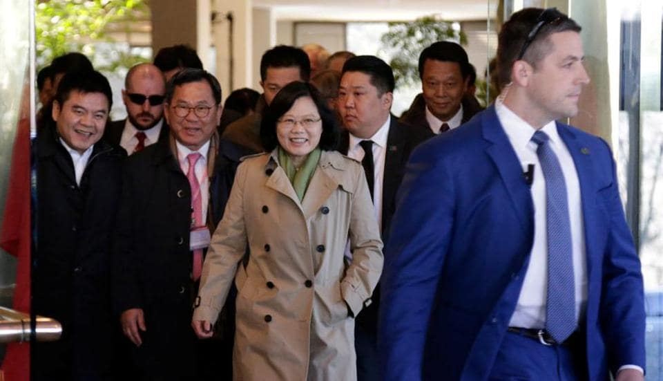 Taiwan President Tsai Ing-wen exits at the Omni Houston Hotel during a