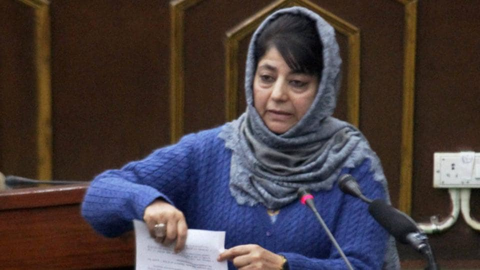 Jammu and Kashmir chief minister Mehbooba Mufti addresses the legislative assembly during the budget session on Monday.