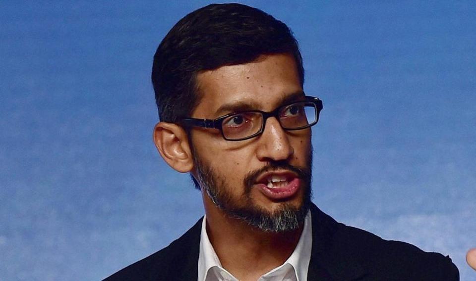 New Delhi: Google CEO Sundar Pichai addressing a program to announce the ''Digital Unlocked'' skill program, in New Delhi on Wednesday. PTI Photo by Manvender Vashist.