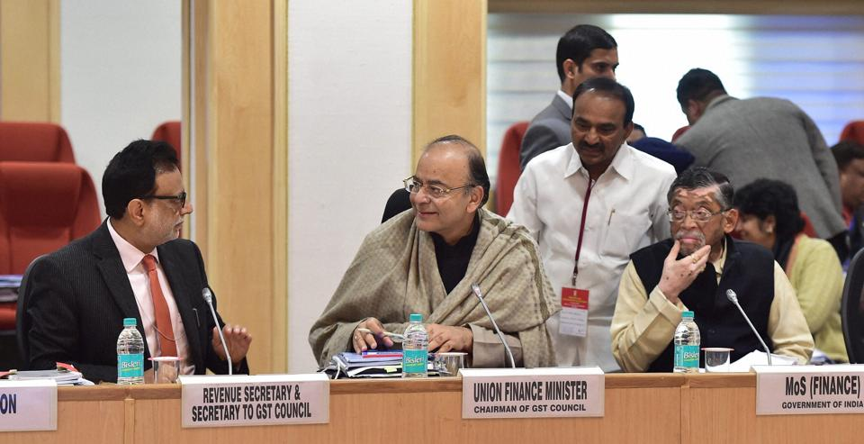 Union minister for finance and corporate affairs Arun Jaitley chairing the GST Council Meeting at Vigyan Bhawan in New Delhi, January 3, 2017
