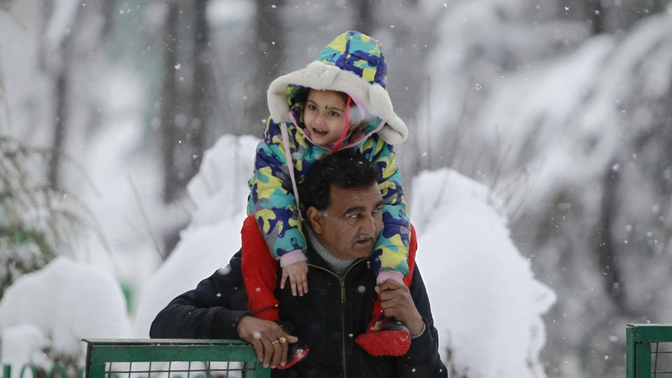 A tourist carries his grandson during snowfall at Patnitop in Udhampur district of Jammu and Kashmir.  (AP)