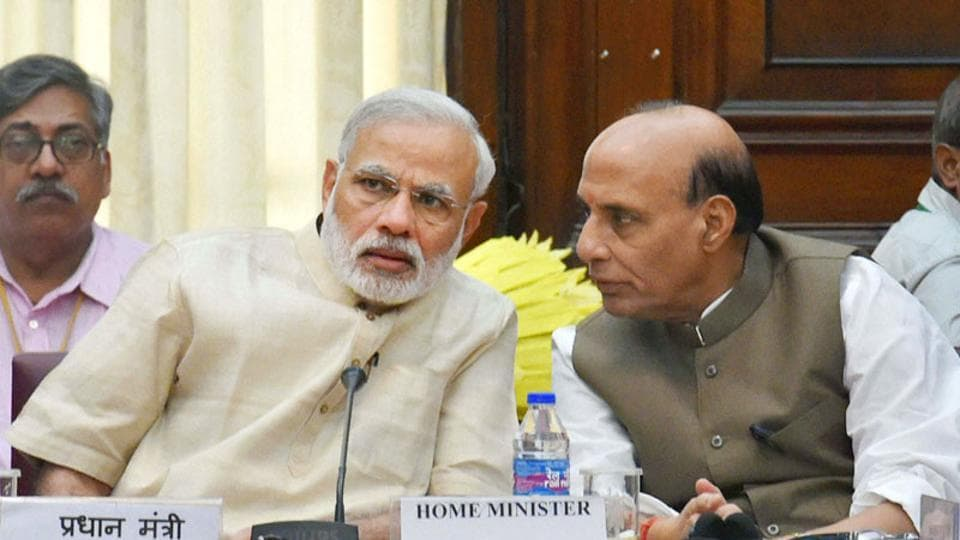 Prime Minister Narendra Modi with home minister Rajnath Singh during an all-party Meeting at Parliament House in New Delhi.