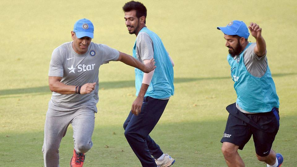 Mumbai: Mahendra Singh Dhoni enjoys a game of football with his India A team mates ahead of Tuesday's warm-up tie against the visiting England. Dhoni will lead a representative Indian side for the last time.