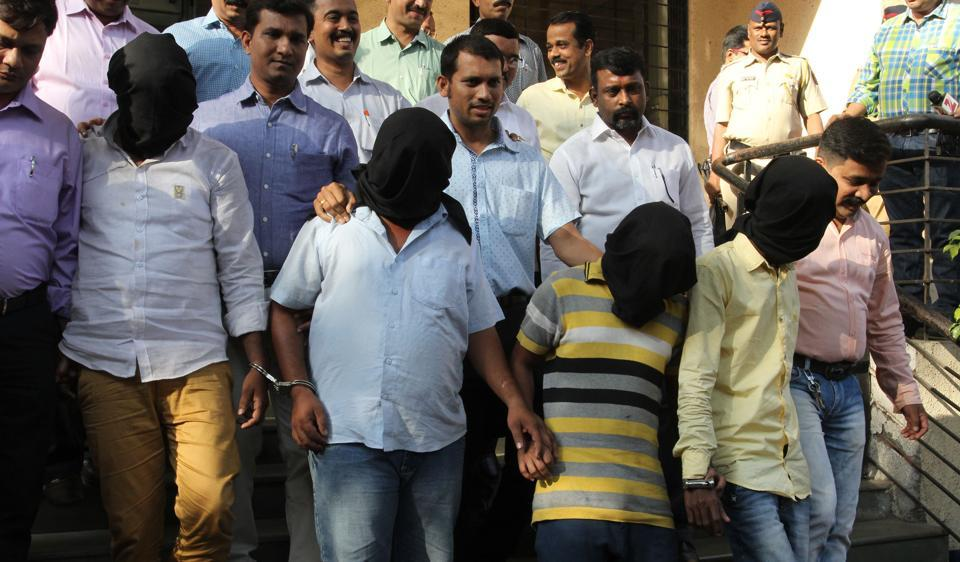 The accused in the Alprazolam haul at the Thane commissioner's office on Monday, after their arrest on Sunday.