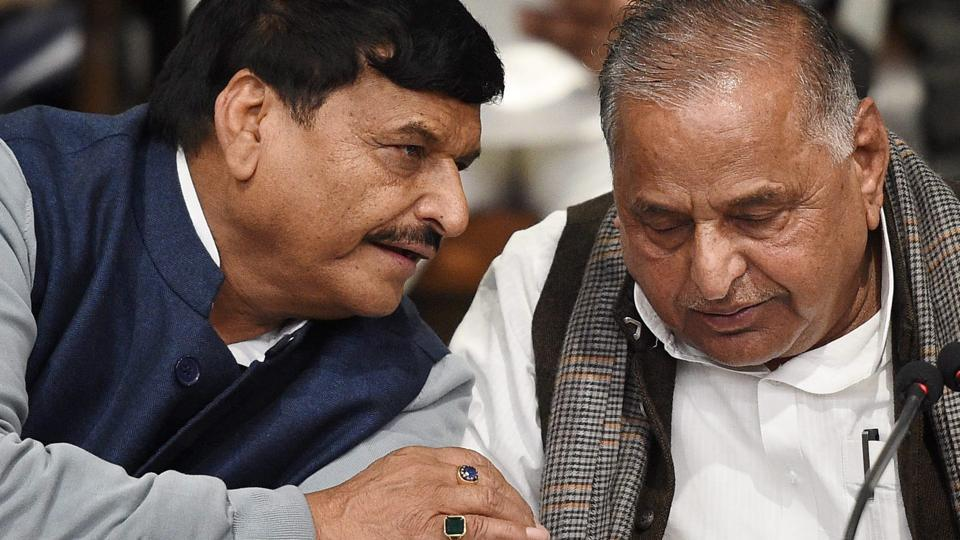 File photo of Samajwadi Party supremo Mulayam Singh Yadav with brother Shivpal Yadav at a press conference at the party office in Lucknow.