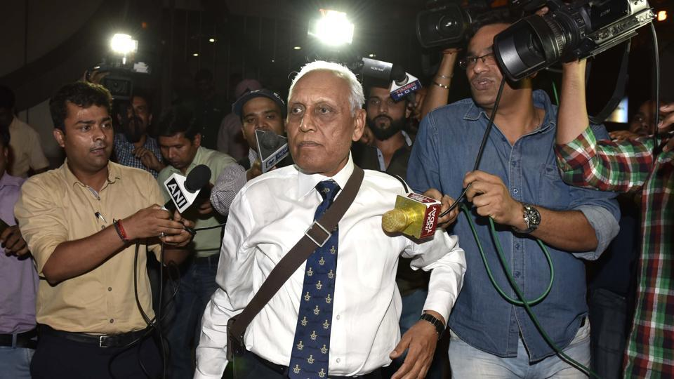 New Delhi , India - May 2, 2016: Former Air Chief Marshal S.P. Tyagi departing from the CBI headquarters on Monday,in connection with alleged corruption in the 3,600 crore AgustaWestland choppers deal in , India, on Monday, May 2, 2016. (Photo by Arvind Yadav/ Hindustan Times)