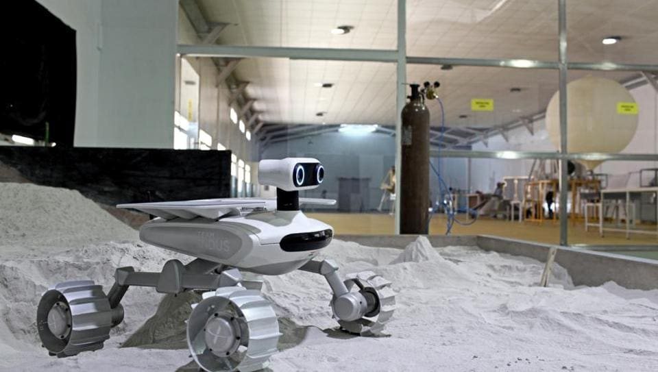 ECA, the rover developed by Team Indus, which will travel over the moon's surface
