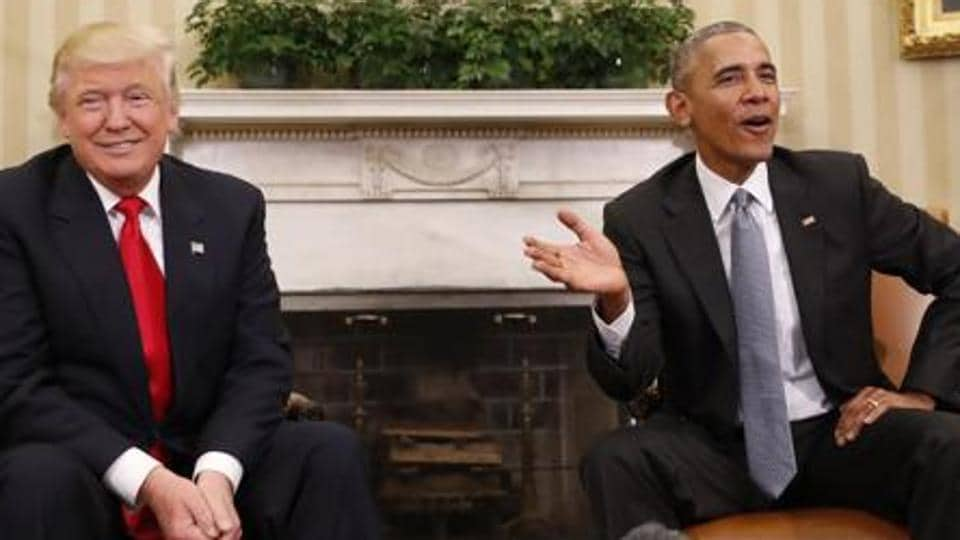 File photo of  President Barack Obama and President-elect Donald Trump in the Oval Office of the White House in Washington.