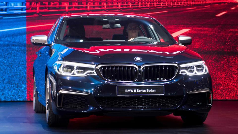 BMW has already taken the wraps off the look of the new 5-series, which competes with the Mercedes E-class and Audi A6.  BMW also is showing a compact X2 crossover concept. (AFP)