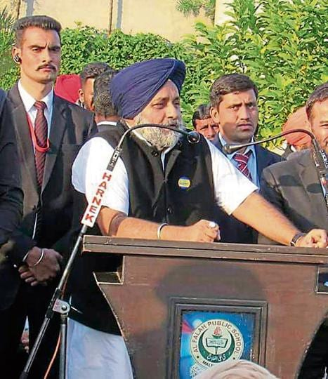SAD chief Sukhbir Singh Badal addressing party workers in Malerkotla on Tuesday.