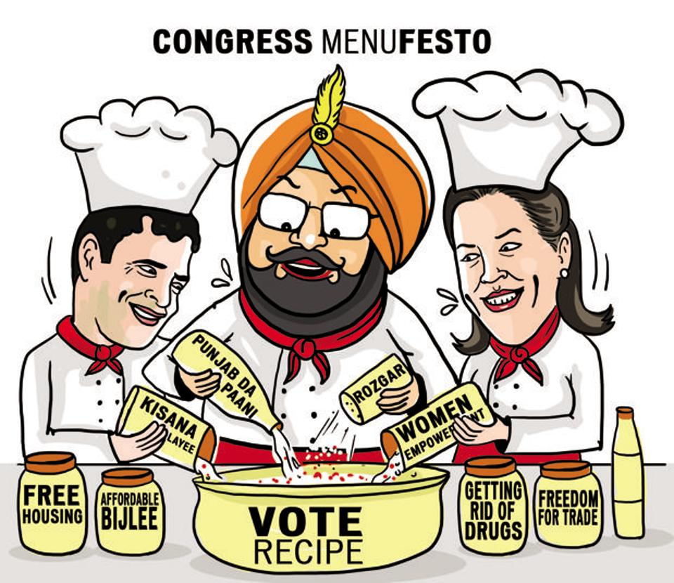 """While releasing the Congress manifesto at Chandigarh here on Monday, Manpreet said it had a """"strong imprint"""" of his People's Party of Punjab (PPP) — which merged into the Congress last January — but it was a """"new wine, in new bottle""""."""