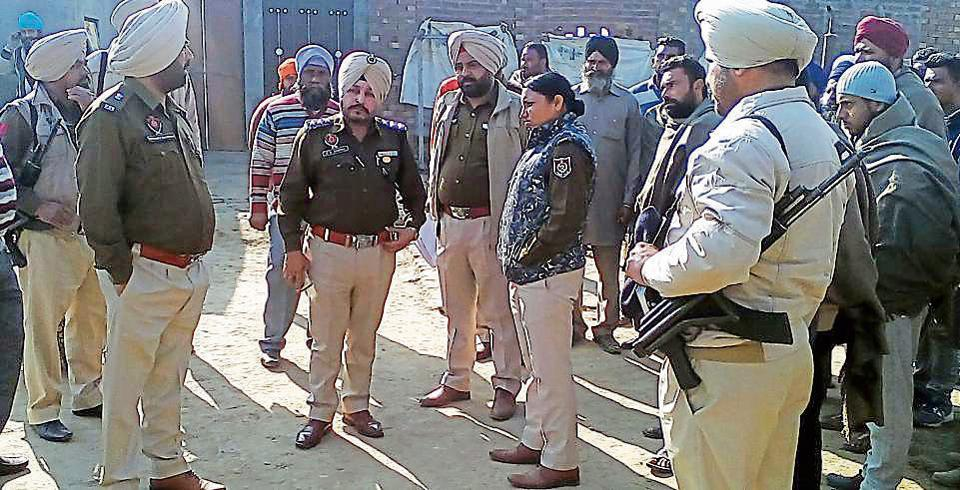 Police officials inspecting the crime spot in Amritsar on Tuesday.