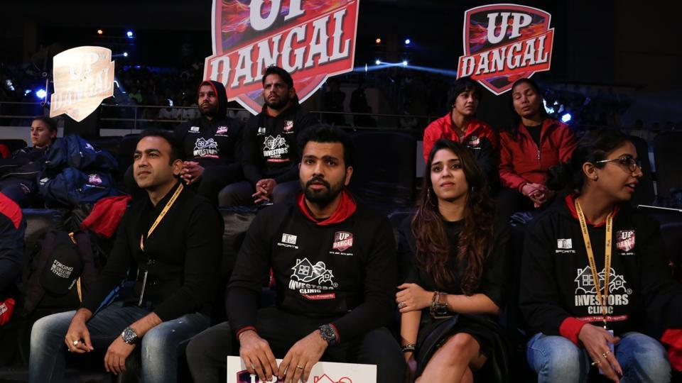 Rohit Sharma attended the Pro Wrestling League match between UP Dangal and NCR Punjab Royals.