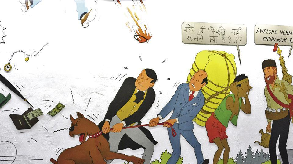 All 140 characters from the Tintin comics come alive in this cartoon mural at the Stokkel  metro station in Brussels.