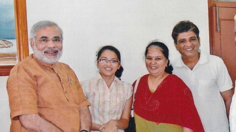A 2008 photo of Tushar (right), his wife Kshama and Twinkle with then Gujarat CM Narendra Modi.