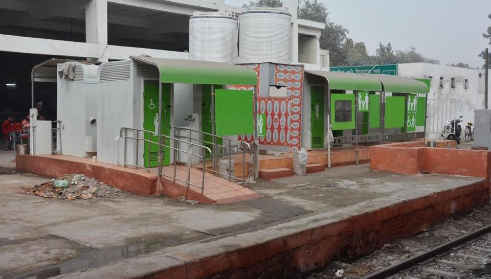 The non-functional eco-friendly toilets at the Amritsar Railway Station on Monday.