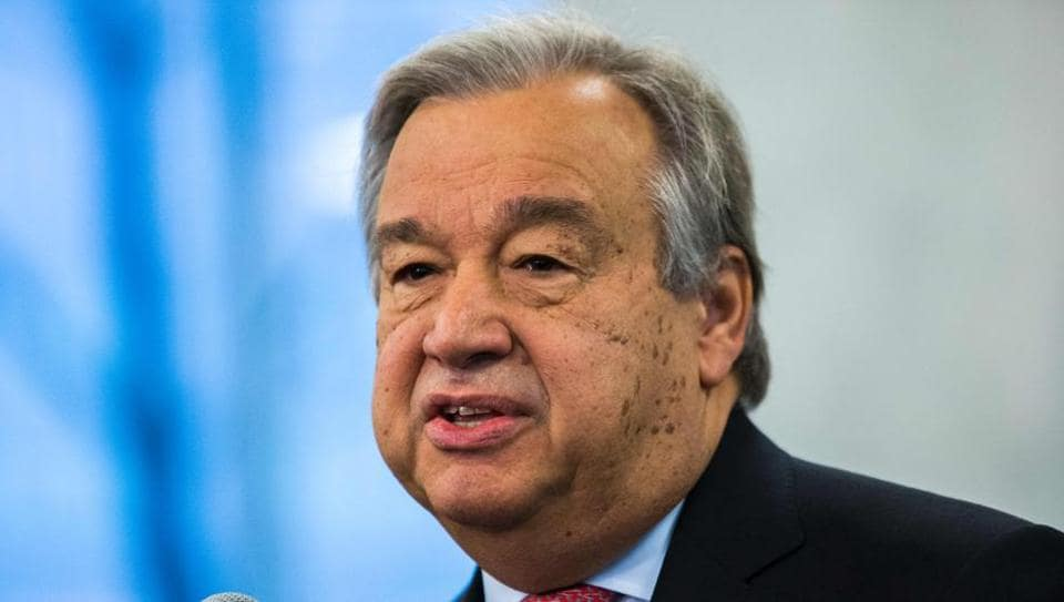 This file photo taken on January 3, 2017 shows United Nations Secretary-General Antonio Guterres speaking to staff members at UN headquarters in New York. Guterres on January 10, 2017 called for a