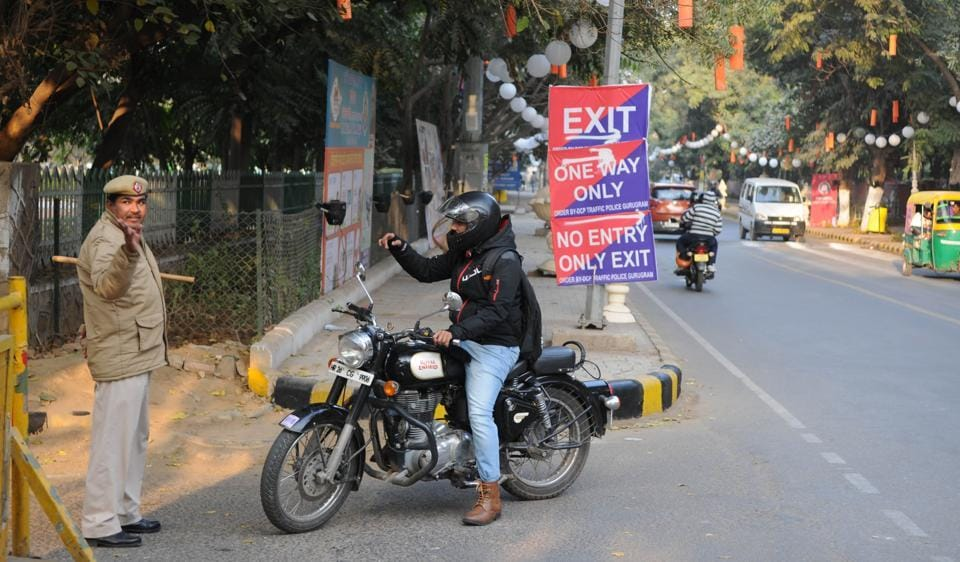 The traffic police created a one-way route from Kingdom of Dreams, the venue, to Sector 29 market road on Monday.