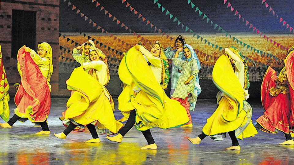 Artistes perform a folk dance on the first day of the event held in Kingdom of Dreams on January 10.