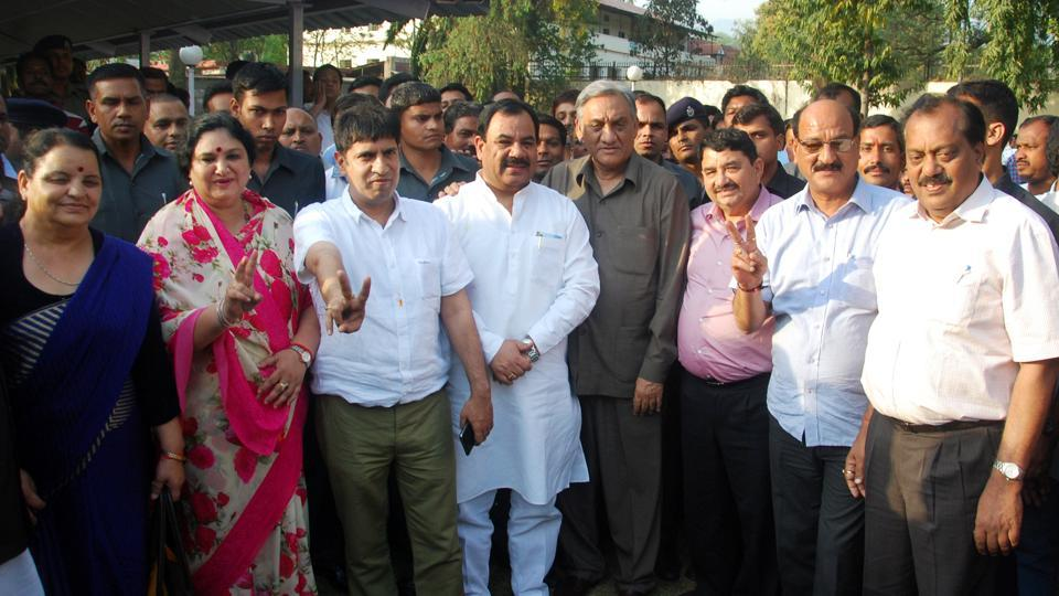 Congress rebels who joined the BJP after getting disqualified as MLAs for anti-party activities in March last year.