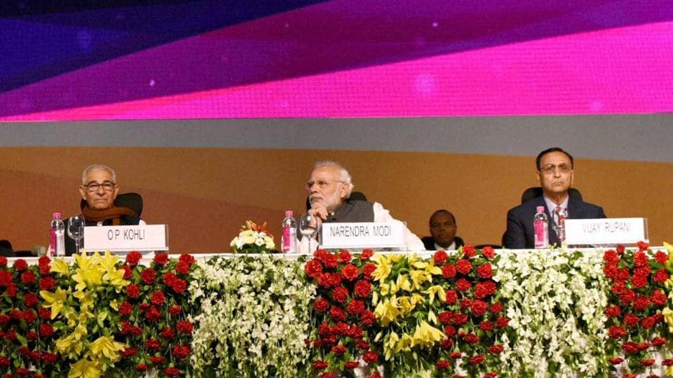 PM Narendra Modi and other dignitaries at the inauguration ceremony of the Vibrant Gujarat Global Summit 2017, at Mahatma Mandir, in Gandhinagar, Gujarat.