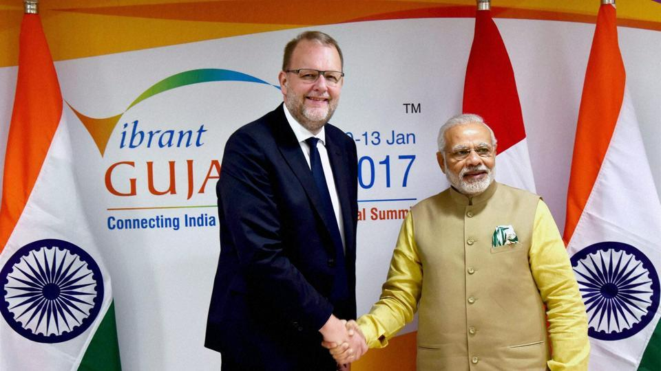 Prime Minister Narendra Modi with Lars Christian Lilleholt, minister of energy, utilities and climate, Denmark at the inauguration of Vibrant Gujarat Global Summit 2017, in Gandhinagar, Gujarat on Tuesday.