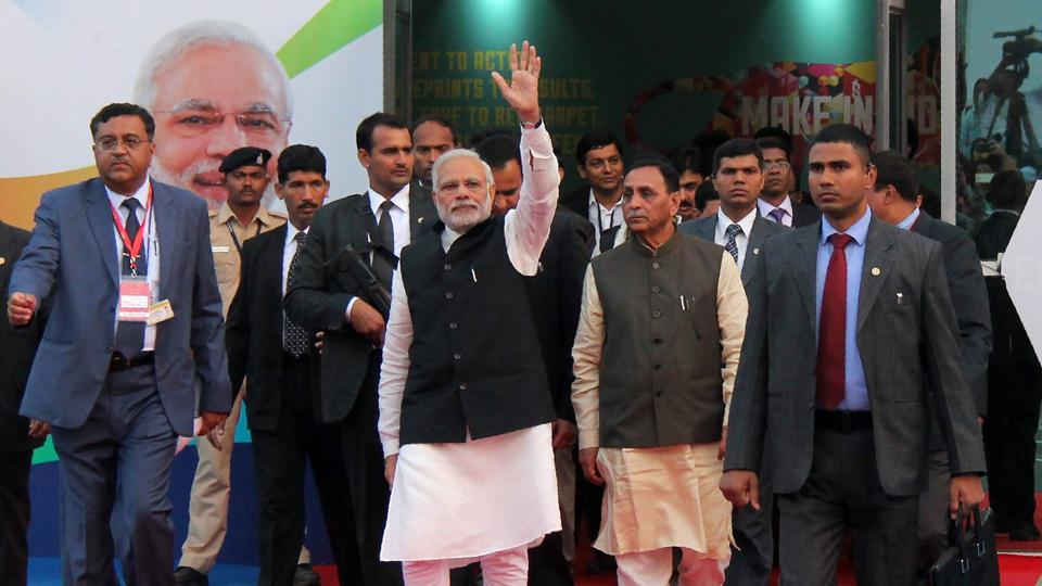 Prime Minister Narendra Modi waves after inaugurating Vibrant Gujarat Global Trade Show in Gandhinagar.